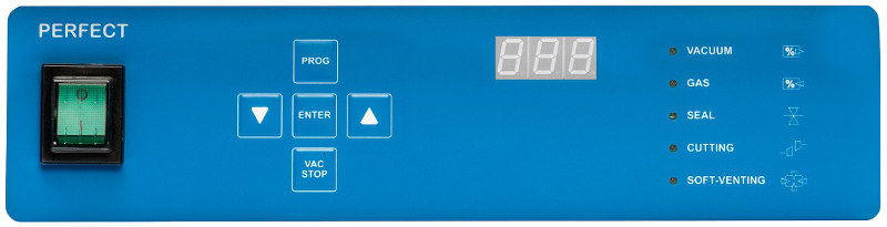 PERFECT Control panel with sensor from Komet table-style vacuum chamber machine sold by Sous Vide Consulting