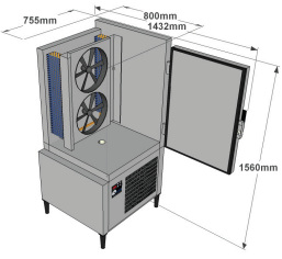 Blast chiller and deep freezer ACFRI RS 50/RL dimensions details sold by Sous Vide Consulting