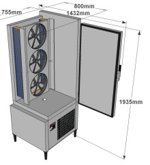 Blast chiller and deep freezer ACFRI RS 75/RL dimensions details sold by Sous Vide Consulting