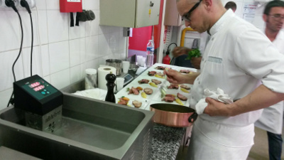 Sous vide cooking traing in Ferrandi cooking school wit hthe SWID sous vide immersion circulator