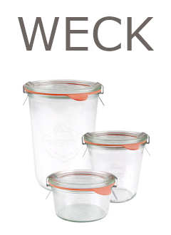 WECK jars wholesale on palette, glass jars, lids, rubber seals and clips
