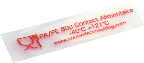 sous vide cooking pouches -40°C to 121°C and 80 microns thickness