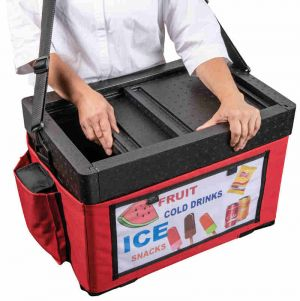 Beach Thermobox for drinks and ice creams: view with red bag.
