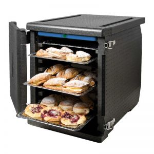 Frontloadder for 60x40 trays with 128 liters capacity: view open with pastry inside